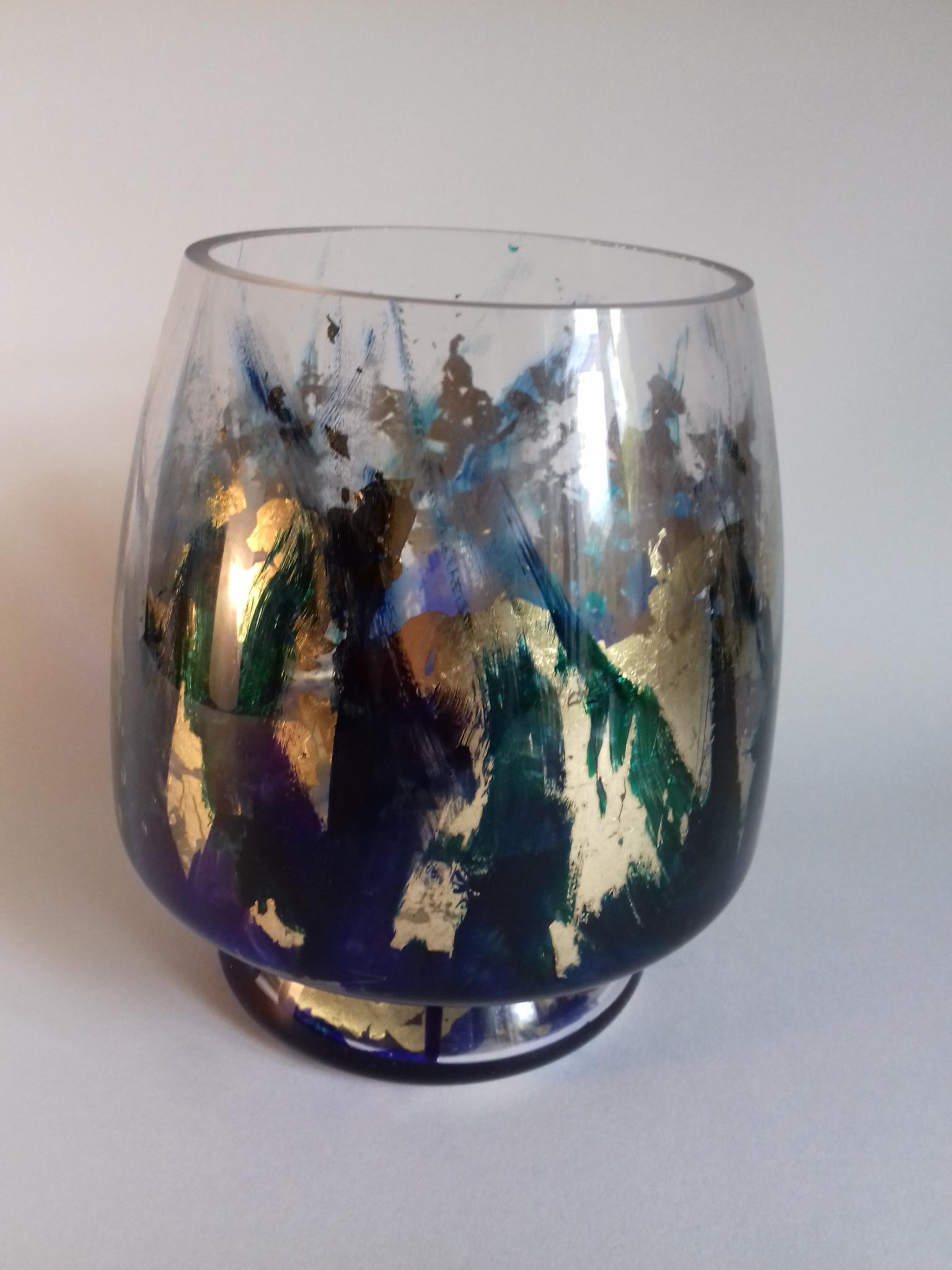 Large Blue/Green Coloured Gilt Vase T-Lite